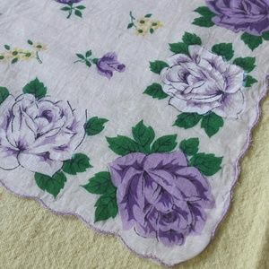 Purple Rose Vintage Cotton Kerchief